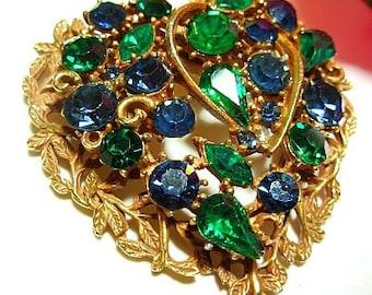 "Coro Brooch Pin Signed Green Blue Rhinestone Heart Design Layered Gold Leaf Frame 2 1/4"" Vintage"