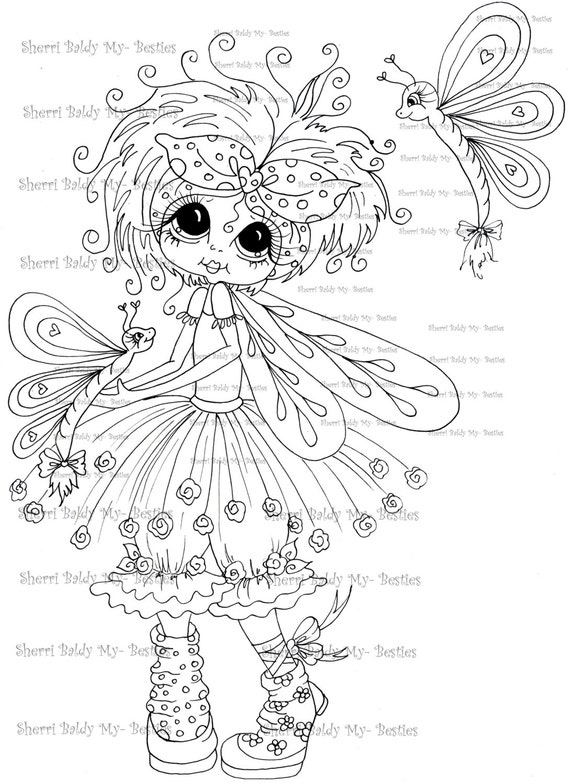 INSTANT DOWMLOAD Digital Digi Stamps Big Eye Big Head Dolls Digi  My Besties IMG895 By Sherri Baldy
