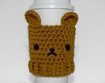Bear Coffee Cozy- Crochet Coffee Cozy- Kawaii-Coffee Cozy-Honey-Animal Coffee Cozy- Coffee Cup Cover