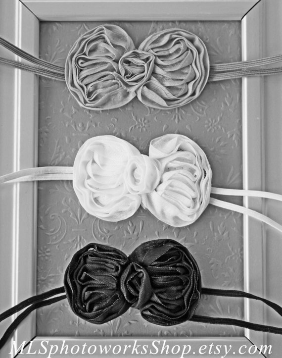Baby Girl Hair Bow Set In Grey White Amp Black Headbands For