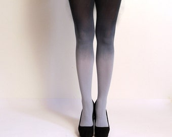 Ombre Tights. Hand dyed Gray and black