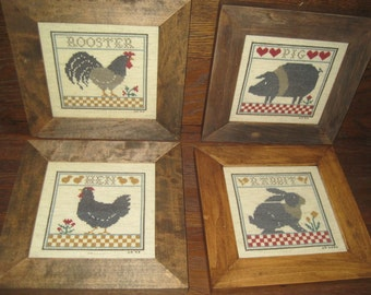 Cross Stitch Farm Animal Pictures - Framed