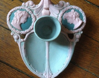 Blue & Pink Cameo Taper Candle Holder