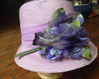 Vintage Lavender Hat with Floral Accents
