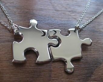 Two Best Friend Puzzle Pendant Necklaces with Crescent moons