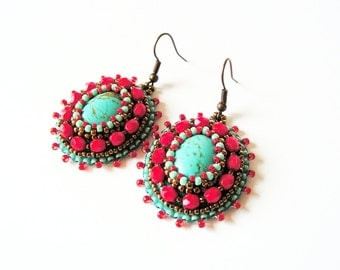 Bead embroidery Earrings Turquoise Red Earrings Beadwork Earrings Red Turquoise dangle Earrings Bead embroidery jewelry MADE TO ORDER
