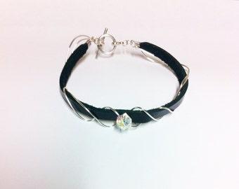 Wire Wrapped Clear Swarovski Leather Bracelet