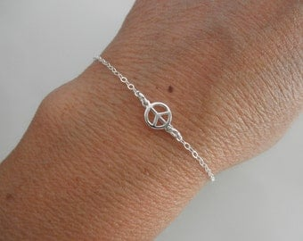 Sterling silver tiny peace sign  bracelet