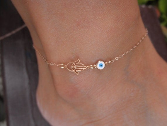 Rose Gold Hamsa Hand Evil Eye Anklet 14k Rose Goldfilled