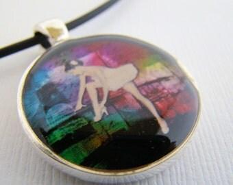 Resin Pendant, Ballerina, White, Pink, Green, Black, For Her, Dancer,  Round, 1 inch