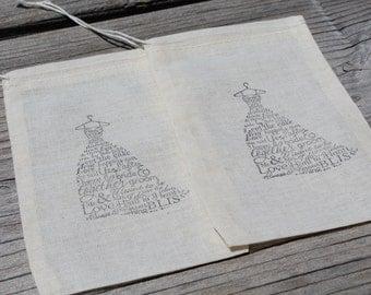 Set Of 10 Wedding Dress Bridal Organic Muslin Favor Bag
