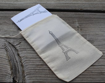 Set of 8 Hand stamped Eiffel Tower Paris Gift Note Cards In A Hand Stamped Muslin Gift Bag