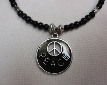 Girls Black Peace Symbol Pendant set on Black and Silver Beaded 15 and a half Inch Choker with Silver Accents and a Sturdy Magnetic Clasp