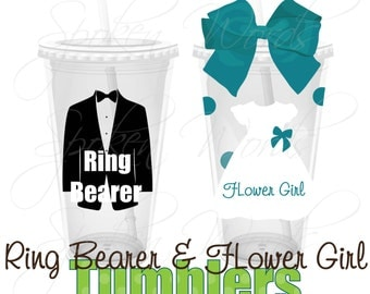Flower Girl and Ringbearer Party Gifts Wedding Party Gifts Personalized 16 oz. Acrylic Tumblers