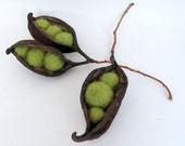 Needle Felted Seed Pod Peas In A Pod Set of Three