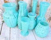 Painted VASES - Shabby Chic Painted Glass Vases, Set of 8 in Tiffany Blue