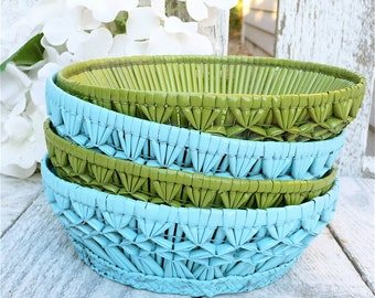 SHABBY CHIC Bowls - Set of 4, Aqua and Lime Painted wicker/ Woven Bowl Set for Decorating / Display