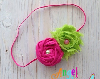 Lime and Hot Pink Skinny Elastic Headband - toddler - baby -  rolled rosé shabby headband