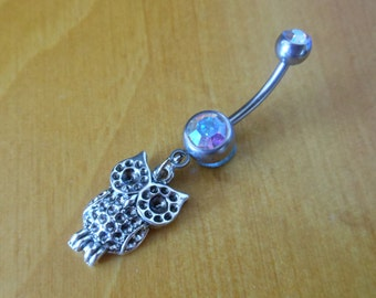 Belly Button Ring - Owl Belly Button Ring