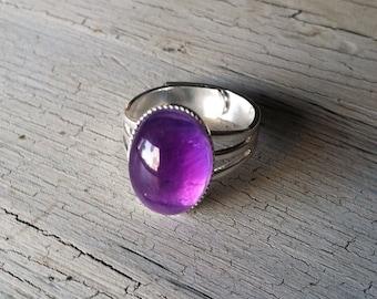Amethyst Ring - Adjustable Ring - Purple Ring, Amethyst Stone Ring - Adjustable Silver Ring