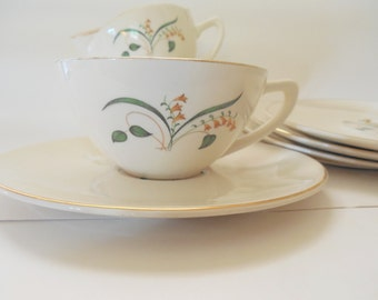 Lovely Lot of 7 Coffee Saucers and 3 Coffee Cups by Knowles China in the Forsythia Pattern, FREE SHIPPING