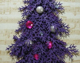 Purple Decorated Christmas Tree Embellishment -Christmas Tag, Embellishment, Scrapbook, Cards, Shabby Chic