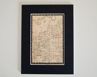 1950s Map of Melbourne Suburbs, Australia - Kew, Balwyn, Ready to Frame, 6 x 8""
