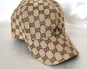 Vtg Gucci Baseball Cap Hat Beige Signature web Fabric Hats Headgear Head Cover Designers Accessories Brands
