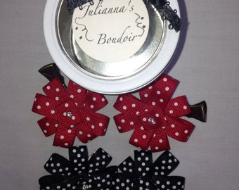 Polka dot flower hair pins- set of four