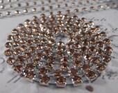 4mm - Light Topaz Rhinestone Cup Chain --- Silver Base Metal --- 1 yard (36 inch)