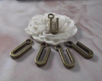 """5 Letter """"U"""" Antique Bronze Charms --- Antique Bronze Color"""