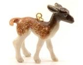 1 - Porcelain Llama Baby Pendant Animal Hand Painted Ceramic Animal Ceramic Brown Llama Vintage Jewelry Supplies Little Critterz (CA204)