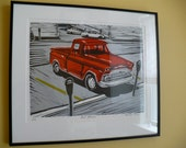 Red Apache, A Framed Linoleum Relief Print/Linocut/Block Print of a Red Apache Truck Vintage Retro Classic Vehicle Old in Parking Lot