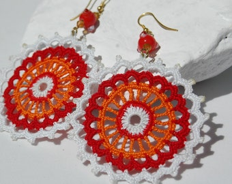 Crocheted  Earrings  , Round earrings, Crochet jewelry, Orange, Red and White