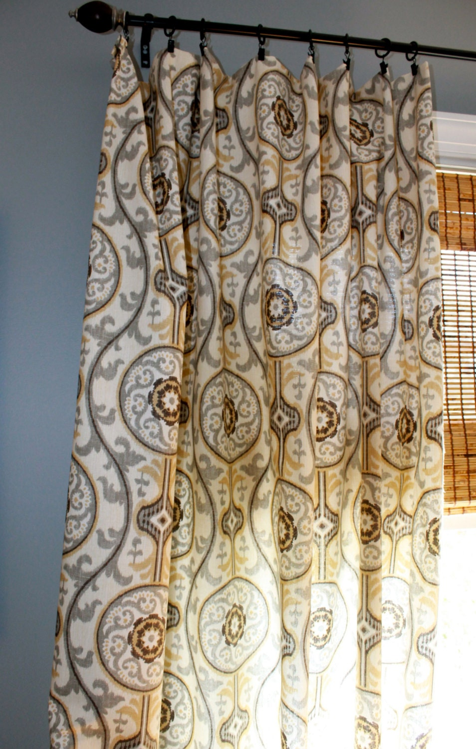 brown tan ivory and grey ikat curtain panel by stitchandbrush. Black Bedroom Furniture Sets. Home Design Ideas