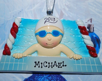 Personalized Male Swimmer Christmas Ornament