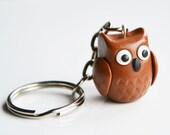 Owl Keyring Keychain, Fimo, Polymer Clay