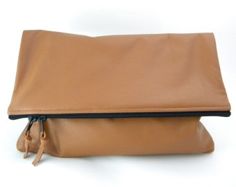 Color Me Foldover Leather Statement Clutch - MORE COLORS | Cowhide Leather | Handbag | Handmade