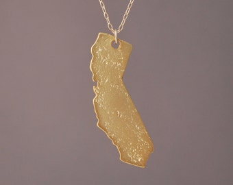 Gold CALIFORNIA State Necklace