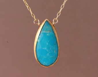 Long Turquoise Stone Bezel Set Gold Necklace