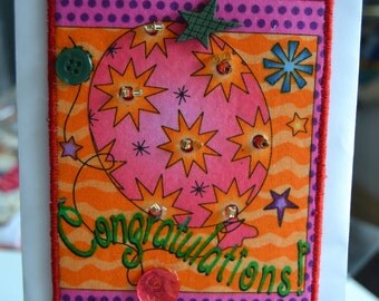 Congratulations Quilted Postcard