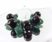 Lampwork fruit beads, choice of redcurrant and blackcurrant beads