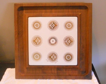 Vintage Georges Briard Cheese Board Wood Gold Starburst Mid Century Modern Serving Home Decor