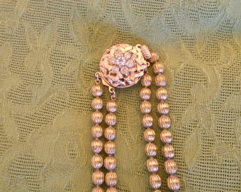 Vintage Necklace Double Strand Copper Ball and Rhinestone Clasp Mid Century Jewelry