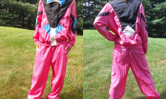 Vintage Jogging Suit Bright Pink Workout Wear Nylon Running