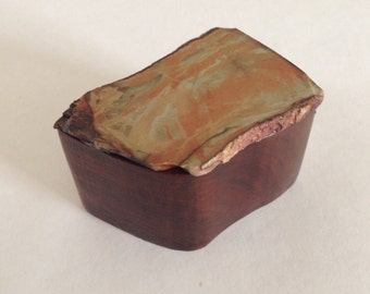 Wooden Box with Stone Lid - Orange and Tan