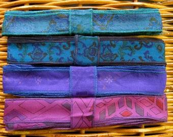 Silk Sari Ribbon, Silk Trim, 4 colors, R43