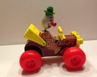 Vintage Fisher Price Jolly Jalopy, Vintage Fisher Price, Clown in Car Toy, Vintage Pull Toy, Jalopy Clown Car