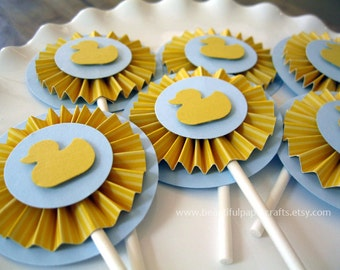 Duck Baby Shower with Rosettes - Yellow and Gray Baby Shower Duck - rubber duck - Baby Shower - Party Decorations - Set of 12