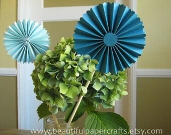 Set of 4 - Aqua Rosette Centerpieces|  Aqua and Silver Wedding | Aqua and Silver Bridal Shower Decorations | Aqua Paper Fans | Candy
